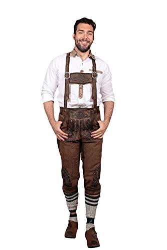 Knee Long Trachten Bundhosen Dark Brown, Authentic German Mens Lederhosen Long Oktoberfest Costume (34) -