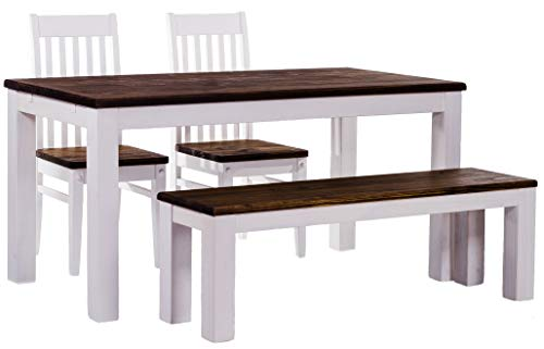 Madera Counter - B.R.A.S.I.L.-Möbel Brazilfurniture Dining Table Set for Four, Rio Pine with Bench and Two Chairs Dark Brown, Oak Antique - White, Solid Wood