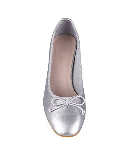 Fiesta 5595 KRISP Elegante Medio Plateado Zapatos Mujer Aguja Fino Bajo Vestir Tacón wBFA0B