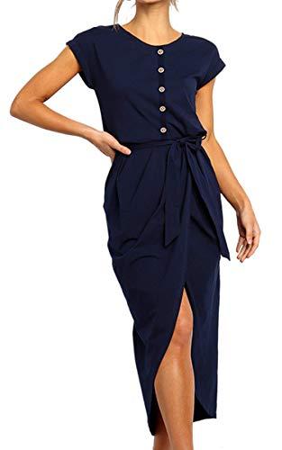 Angashion Women's Dresses-High Low Irregular Hem Straight Midi Dress Front Split Button Fit Midi Dress with Belt Navy Blue L