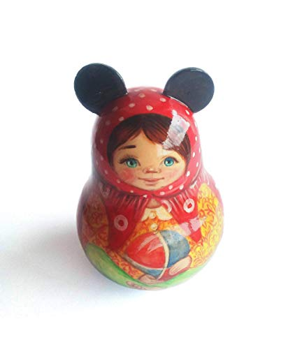 Russian roly poly doll Collectible wooden handpainted Nevalyashka weeble wobble toy