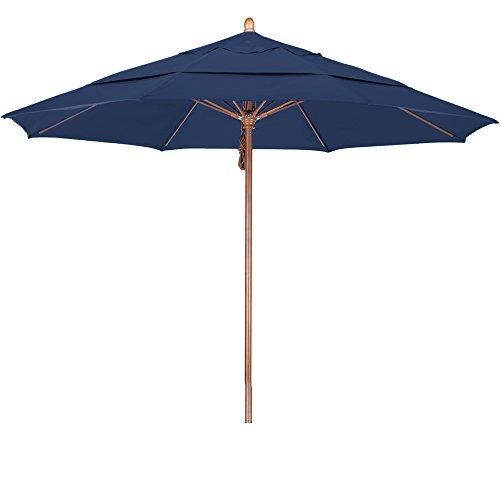 California Umbrella 11' Round Hardwood Pole Fiberglass Rib Market Umbrella, Stainless Steel Hardware, Pulley Lift, Pacifica Sapphire