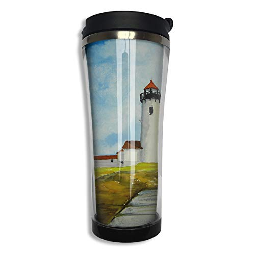 customgogo BPA Free Flip Cap Coffee Mug Double Wall Vacuum Travel Tumbler Eastern Point Lighthouse with Surf Water Coffee Cup for Home,Office,School - Works Great for Hot and Cold Drink