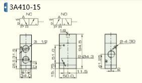 NPT 3//2 way Pneumatic Air Pilot Valve 1//2 inch NPT 3A410-15