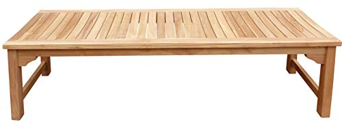 Seven Seas Teak Ocean City Outdoor Patio Backless Bench, 6 Foot Made from Solid Teak Wood