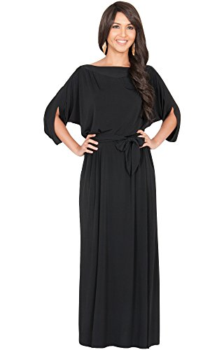 KOH KOH Womens Long Flowy Casual Short Half Sleeve with Sleeves Fall Winter Floor Length Evening Formal Maternity Gown Gowns Maxi Dress Dresses for Women, Black L 12-14 (1)