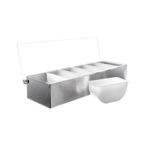 Tablecraft Condiment Dispenser, Stainless Steel with  6 Compartments | Condiment Server Organizer | Commerical Quality for Bar & Restaurant Use