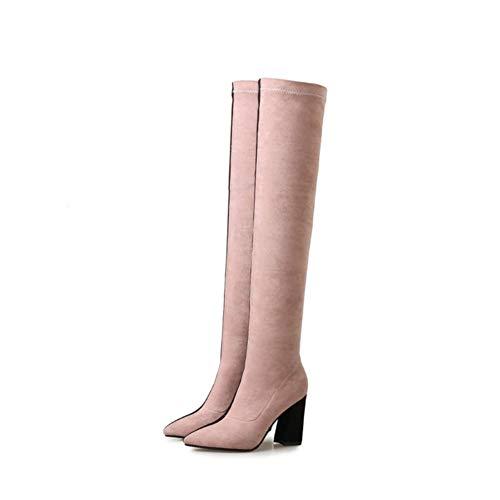 Boots Dessus Aiguille Mode Pink Pointé Genou Femmes Étirer Au Talons Chaussures Cuissardes Rose Talon Fête Noir du HN Soirée Bottes Les Black Pd4P0x