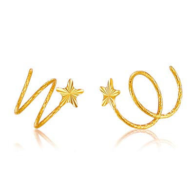 TTO Earrings - 18k Pure Gold Stud Earring Exquisite Elegant