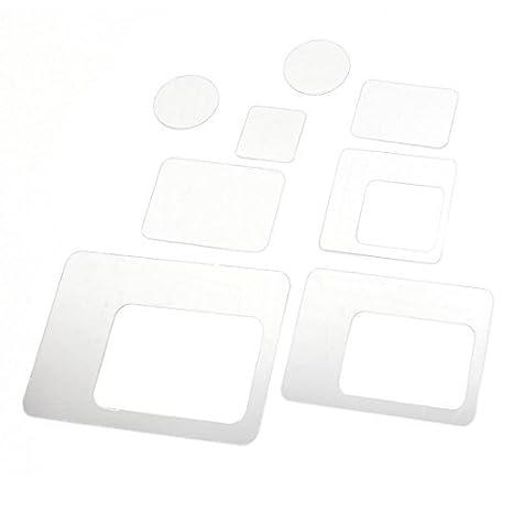 8pcs acrílico 3D Rectangular Redonda efecto del espejo etiqueta de la pared principal Adhesivos - - Amazon.com