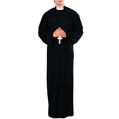 [LETSQK Friar Jesus Monk Missionary Priest Robe Tunic Cloak Party Halloween Costume Black] (Missionary Costumes)