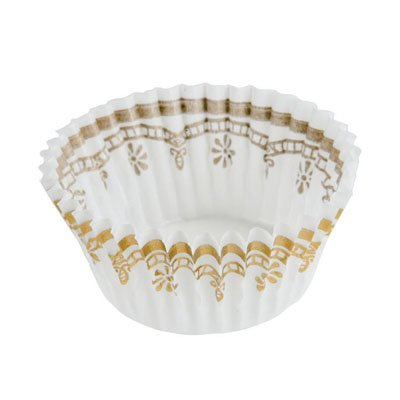 White & Gold Mini Cupcake Baking Cup Liners 1000 Count by CK by CK Products