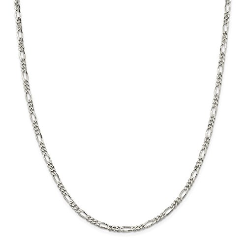 925 Sterling Silver 3.5mm Link Figaro Chain Necklace 26 Inch Pendant Charm Fine Jewelry Gifts For Women For Her