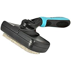 Self Cleaning Slicker Brush for Dogs & Cats. Press a Button & Slicker Head Wipes Clean Removing Mats Tangles & Loose Undercoat. Professional Quality Pet Grooming Tool. Ergonomic Soft Grip Handle
