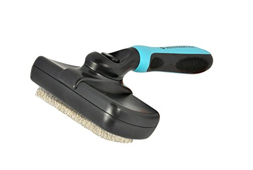 Self Cleaning Slicker Brush for Dogs & Cats. Press a Button & Slicker Head Wipes Clean Removing Mats Tangles & Loose Undercoat.