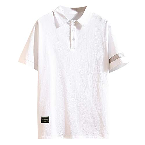 Mens Summer Casual Cotton and Linen Short Sleeve Lapel Loose Short Sleeve T-Shirts Tops White]()