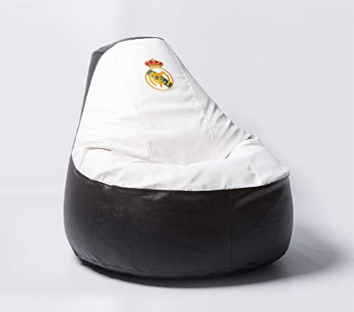 Real Madrid Football Beanbag Comfortable Kids Adult Game Outdoor Indoor Lounge Chair Cover + Inner Bag (Without Beans) ()