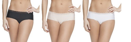 Platinum Lingerie Women's 3 Pack Multicolor Lace Edge Hipster Brief Panties Black White Nude Small