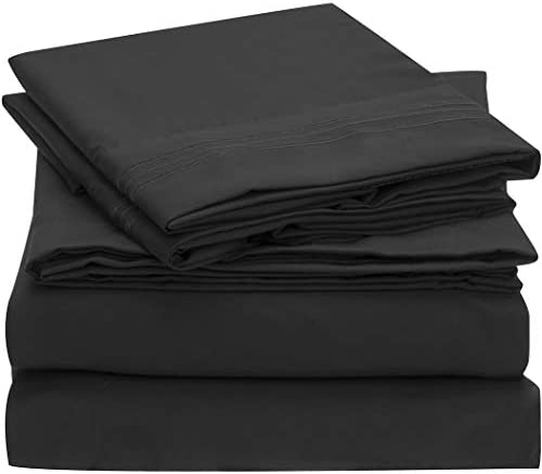 Mellanni Bed Sheet Set - Brushed Microfiber 1800 Bedding - Wrinkle, Fade, Stain Resistant - 4 Piece (Queen, Black)
