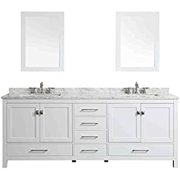 Design element moscony double sink vanity set with white finish 84 inch bathroom vanities for 84 inch white bathroom vanity