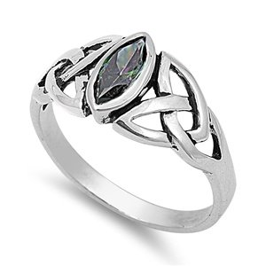 9mm 1ct Sterling Silver FIRE RAINBOW MYSTIC TOPAZ MARQUIS OVAL BIRTHSTONE CELTIC KNOT Ring 5-10 (7) 1 Ct Marquis
