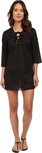 MICHAEL Michael Kors Women's Solids V-Neck Tunic Cover-Up Black Swimsuit Top