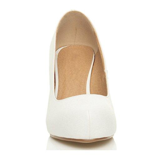 Damen Kleiner Mittel Absatz Versteckte Plateau Arbeit Fesch Schuhe Pumps Größe Weiß Matt