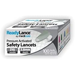 Medicore 808 ReadyLance Safety Lancet, 21 g x 2.8 mm (Pack of 100)