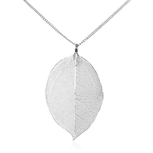 - RIAH FASHION Delicate Bohemian Leaf Pendant - Lightweight Botanical Filigree Long Necklace Natural Plain/Crystal Rhinestone Cubic Pave (Natural Plain - Large Leaf - Silver)