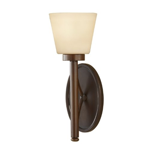 Murray Feiss WB1571HTBZ Nolan Collection 1-Light Wall Sconce, Heritage Bronze Finish with Cream Etched Glass