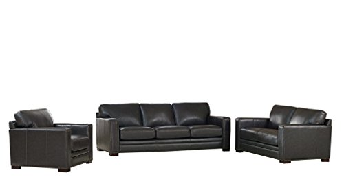 Coja by Sofa4life Benson Leather Sofa, Loveseat and Chair Set, Grey (Benson Sofa)