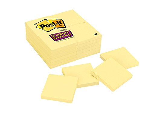 - Post-it Super Sticky Notes, 3 in x 3 in, Canary Yellow, 24 Pads/Pack (654-24SSCY)