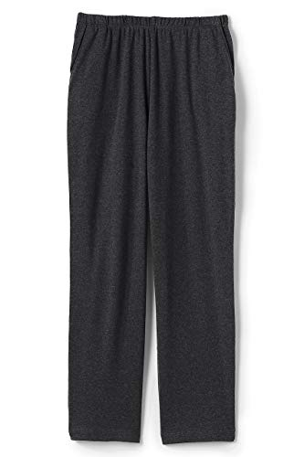 (Lands' End Women's Sport Knit Elastic Waist Pull On Crop Pants Dark Charcoal Heather)
