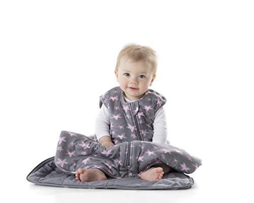 (Gunamuna Gunapod Luxury Bamboo Viscose Girl Wearable Blanket Sleeping Bag, Grey Pink Stars, 18-24)