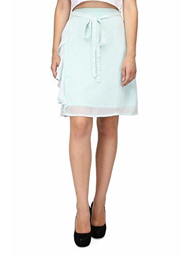 Jupe D't Femme Taille Haute Cordon De Serrage en Georgette Wrap Midi Robe S-5Xl Bleu Ciel Clair