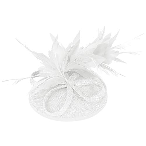 (Iusun Feather Fascinators Flower Derby Hat Cute Beads Hat Hairpin Women Hair Head Hoop Simple Sweet Girls Headband Accessory Hair Care Jewelry Decoration)