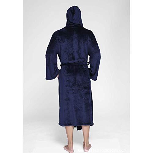 Grande Gruesa Oscuro Albornoces E Franela Otoño Negro Pijama Gris Tamaño Azul Con Invierno Huifang Oscuro Metro color Cálido Capucha Pareja Larga Extra 0qg45F7