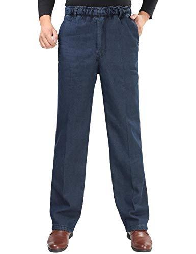 Velvet Pants Jeans (Zoulee Men's Full Elastic Waist Denim Pull On Jeans Straight Trousers Pants Velvet Dark Blue 32)