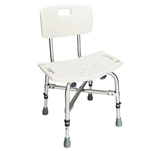 Mefeir 450LBS Heavy Duty Medical Shower Chair Bath Seat Stool,Upgraded Safety Framework Transfer Bench SPA Bathtub Chair, FDA Approved No-Slip Adjustable 6 Height with - Heavy Shower Chair Duty