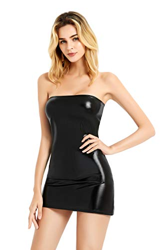 Bingirl Gothic Hot Sleeveless Dress Metallic Wetlook Clubwear Stripper Black One Size