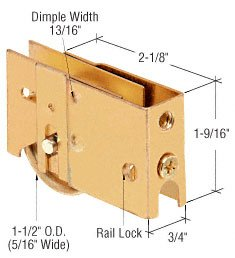 """CRL 1-1/2"""" Stainless Steel Ball Bearing Sliding Glass Door Roller with 3/4"""" Wide x 1-9/16"""" High Housing - Package"""