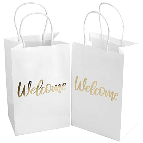 Wedding Welcome Bags - 24 Piece Elegant Wedding Gift Bags with Word ''Welcome'' Embossed in Gold Foil Letters - 3.5