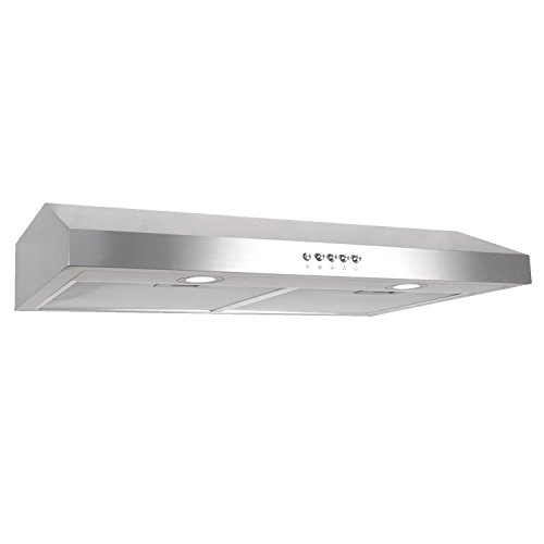 - Cosmo 30 in. 250 CFM Ducted Under Cabinet Range Hood with Push Button Control Panel, Kitchen Vent Cooking Fan Range Hood with Aluminum Filters and LED Lighting