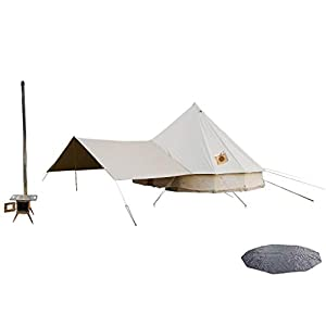 DANCHEL OUTDOOR Two Stove Jacket Bell Tent with Front Awning,Tent Wood Burning Stove and Footprint for Camping