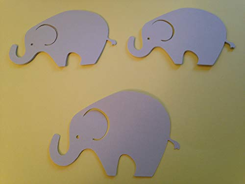 (24 Light Gray Elephant Cutout 3 3/4 Inch Elephant Cut Outs Large Elephant Diecut Elephant Baby Shower Elephant Theme)