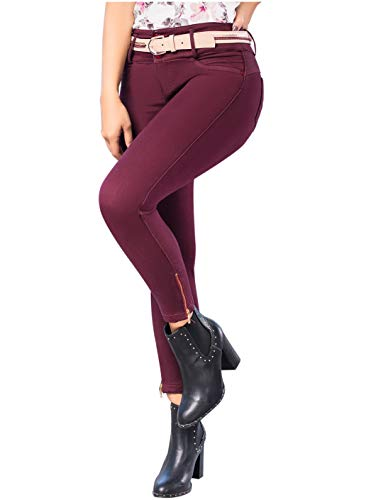 f90f2e4000 LT.ROSE Draxy 1376 High Waisted Skinny Colombian Jeans for Women   Jeans  Colombianos Burgundy 3