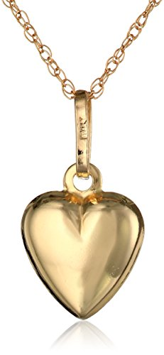 14k Yellow Gold Petite Puff Heart Pendant Necklace, 18