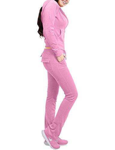 NE PEOPLE Womens Casual Basic Velour/ Terry Zip Up Hoodie Sweatsuit Set by NE PEOPLE