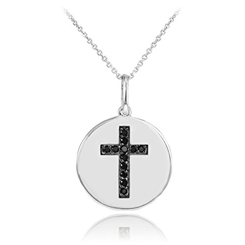 14k White Gold Cross Black Diamond Disc Pendant Necklace (20 Inches)