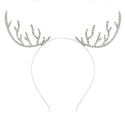 Reindeer Headband Craft - VOGUEKNOCK Christmas Headband Reindeer Antlers Crystal Paved Delicate Metal Headband Silver
